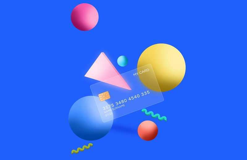 3D彩色小球和三角形以及毛玻璃半透明效果银行卡7903187免抠图片素材
