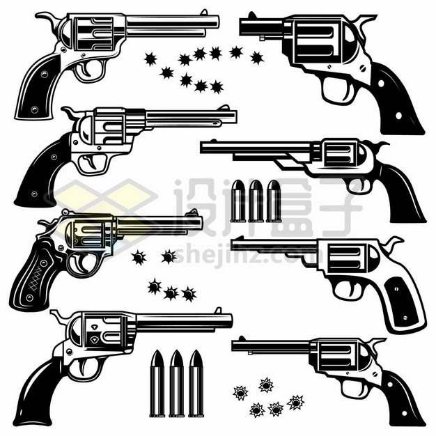 8款黑色漫画风格的左轮手枪和子弹以及弹孔5867903矢量图片免抠素材