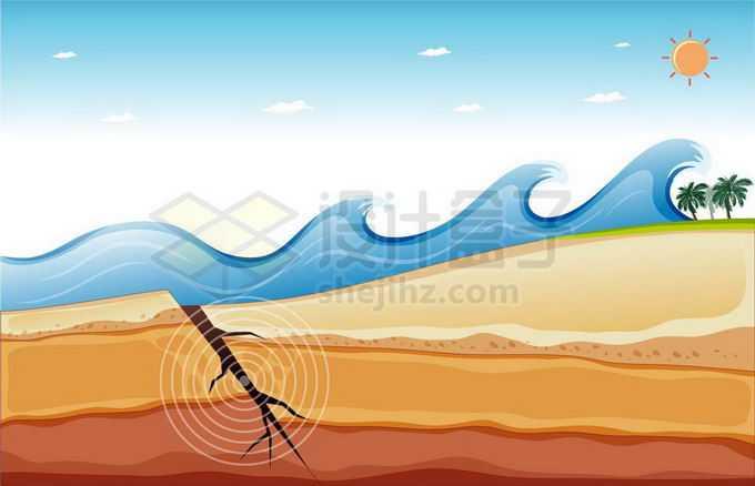 海底地震板块断裂造成的海啸示意图1296289矢量图片免抠素材