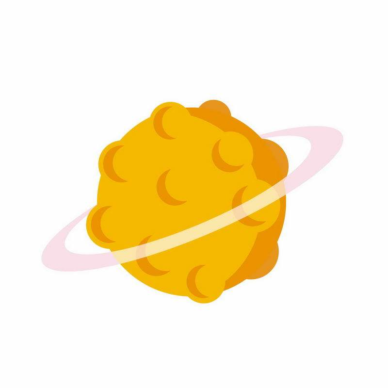黄色的卡通星球带光环9349404矢量图片免抠素材