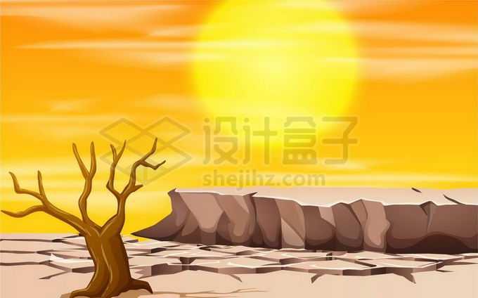 黄色炎热太阳炙烤下干旱的大地和干枯的大树旱灾自然灾害3935160矢量图片免抠素材