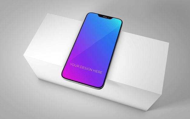 白色台子上的iphone手机屏幕显示样机4600291图片素材 样机-第1张