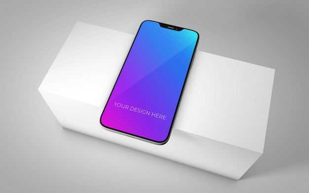 白色台子上的iphone手机屏幕显示样机4600291图片素材