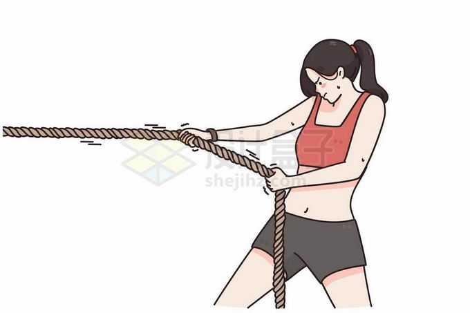 女孩拉着绳子拔河比赛手绘线条插画6663259矢量图片免抠素材
