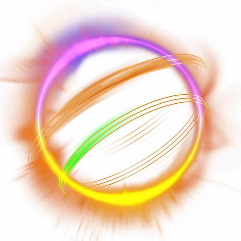 绚丽的彩色光芒光晕光圈发光抽象光球效果4273797免抠图片素材