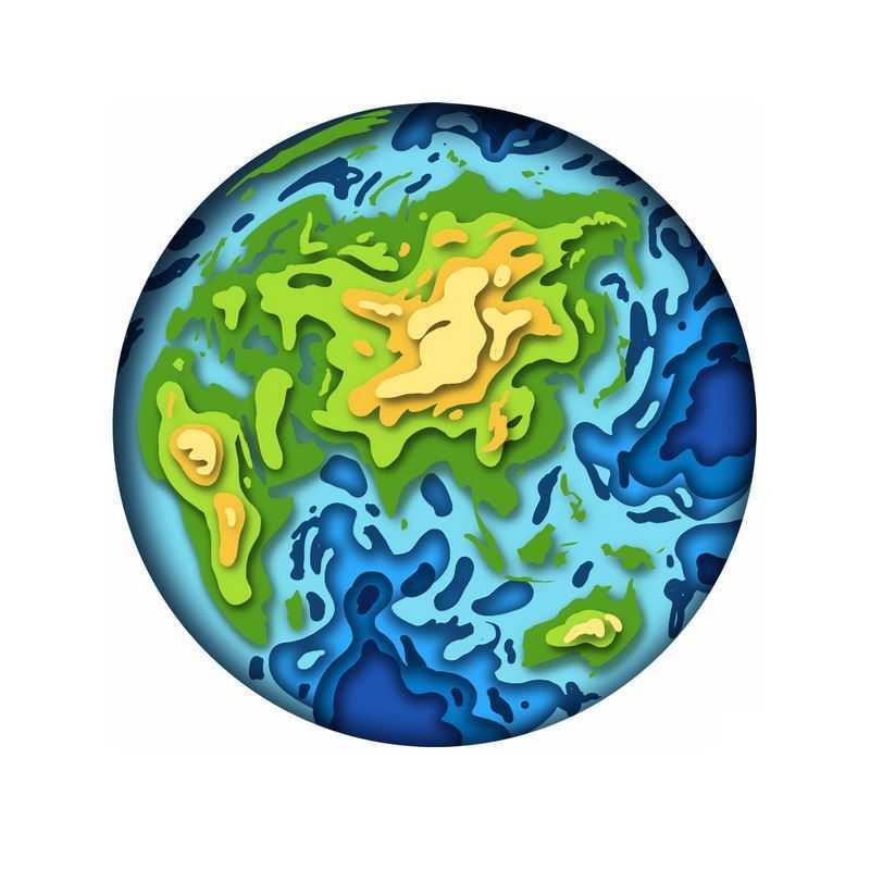 剪纸叠加风格地球模型亚洲视角1368952图片素材