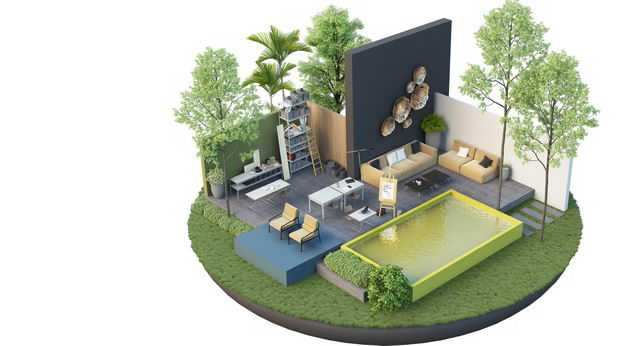 3D立体风格悬空岛豪华别墅内部结构和庭院泳池装修效果图9845106免抠图片素材