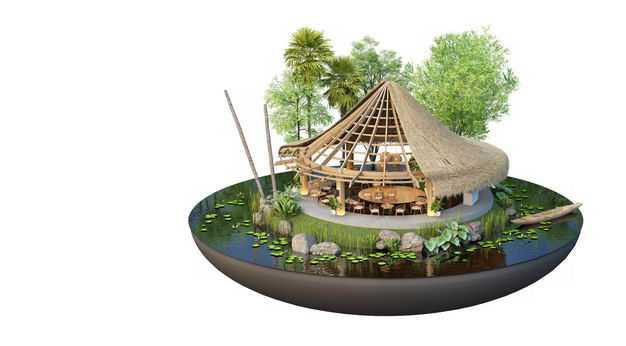 3D立体风格悬空岛小岛圆顶民宿别墅装修效果图8523881免抠图片素材