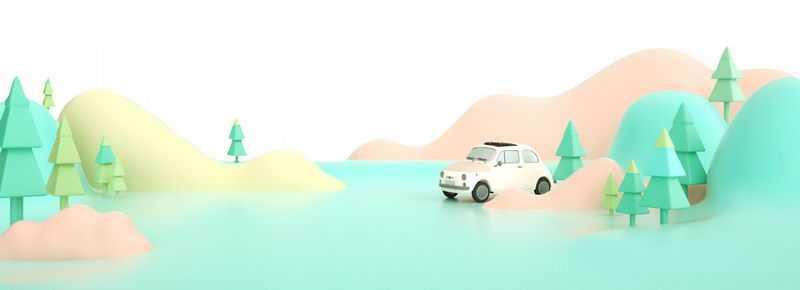 3D风格的清新多边形大树和高山小汽车3430327png免抠图片素材