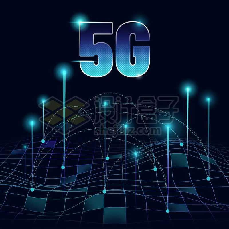 蓝色发光效果快速移动的点线和5G移动通信技术6839637免抠图片素材