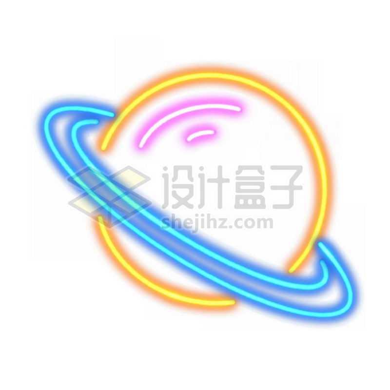 霓虹灯风格发光线条卡通星球土星5959326免抠图片素材