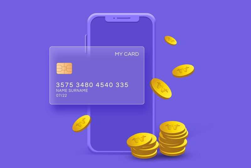 紫色手机毛玻璃半透明效果银行卡和金币6466007免抠图片素材