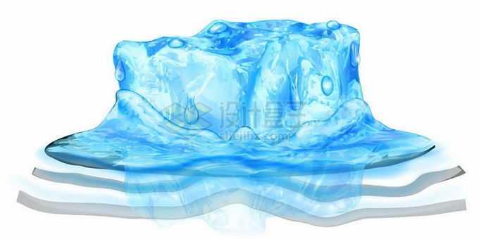 正在融化中的蓝色冰块碎冰方块7685093矢量图片免抠素材