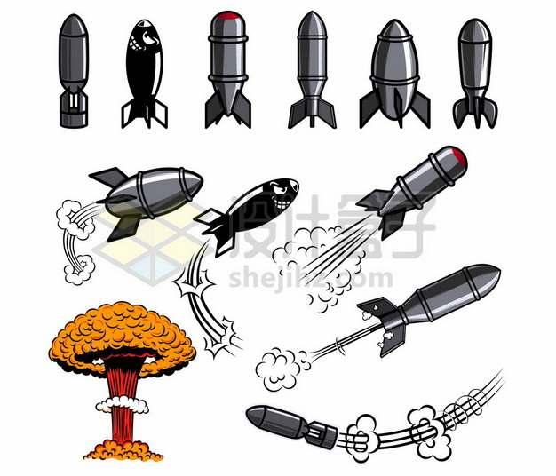 各种各样的卡通炸弹导弹核弹和漫画风格爆炸蘑菇云5968362矢量图片免抠素材