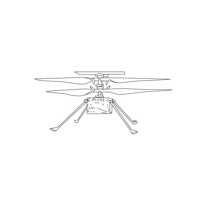 机智号直升机美国火星探测车手绘线条插画1492380png免抠图片素材