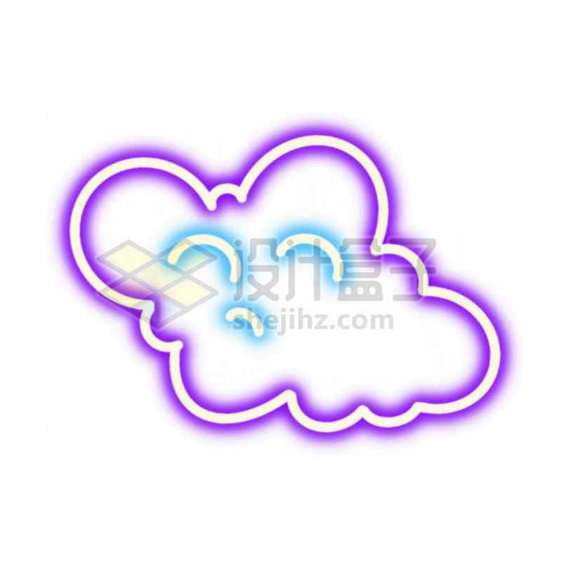 霓虹灯风格发光线条紫色云朵图案4920126免抠图片素材