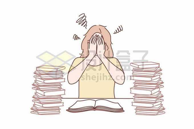 面对繁重的课业学业书本而捂着脸烦恼的女孩手绘线条插画8909369矢量图片免抠素材