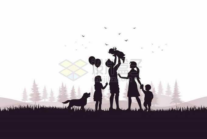 幸福的一家五口三孩政策家庭加宠物狗人物剪影7547536矢量图片免抠素材
