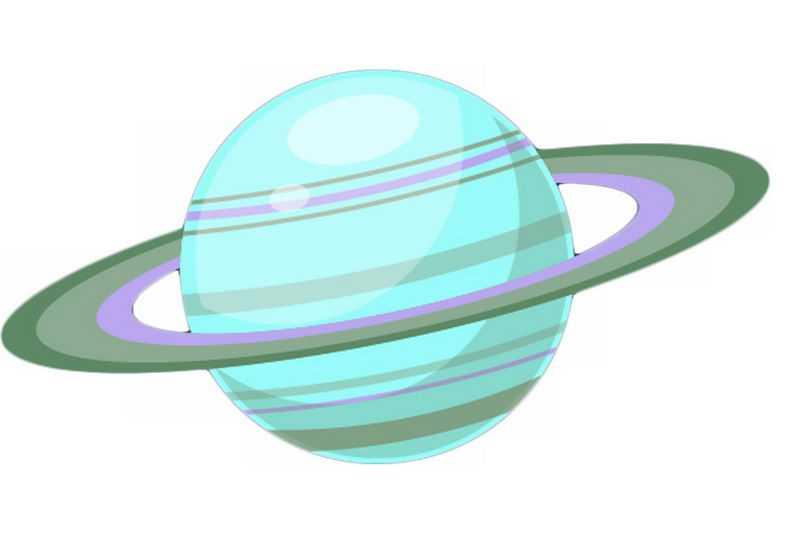 一颗绿色的星球带光环的土星卡通天文插画7197074png免抠图片素材