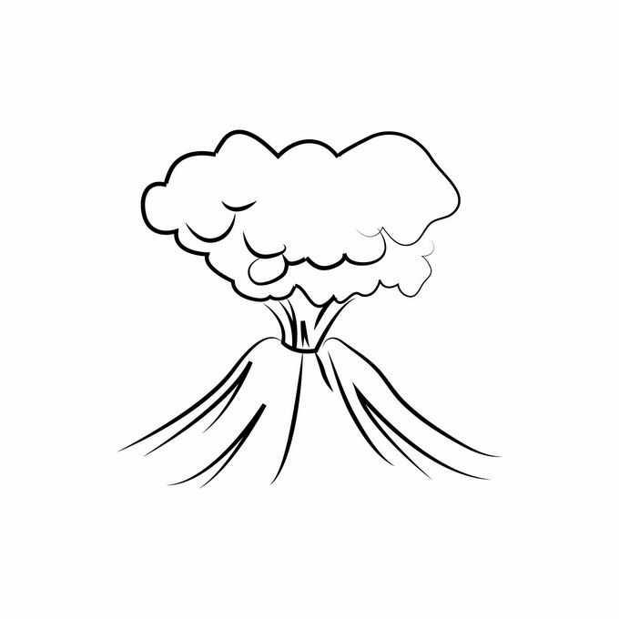 线条手绘风格喷发中的火山6204170矢量图片免抠素材