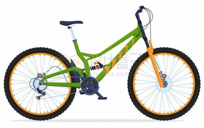 一辆绿色的山地自行车运动自行车侧面图2612113矢量图片免抠素材