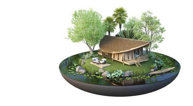 3D立体风格悬空岛小岛民宿别墅装修效果图5065077免抠图片素材