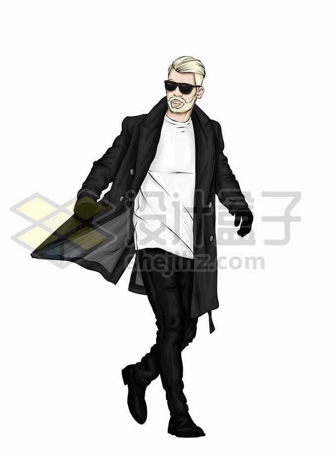 身穿黑色风衣的超帅大叔型男6779309矢量图片免抠素材