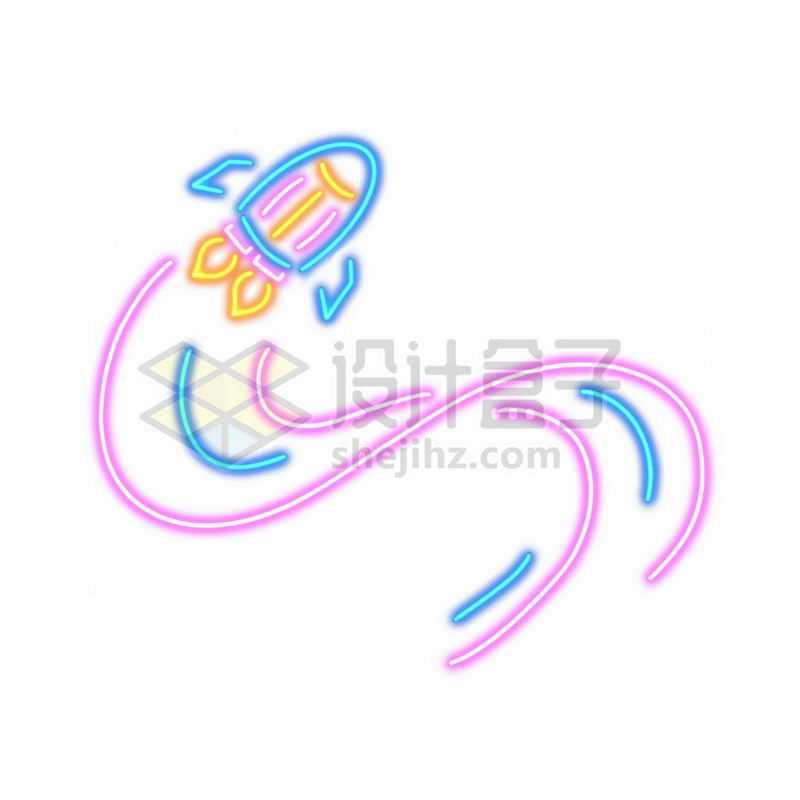 霓虹灯风格发光线条卡通小火箭和尾迹2987373免抠图片素材