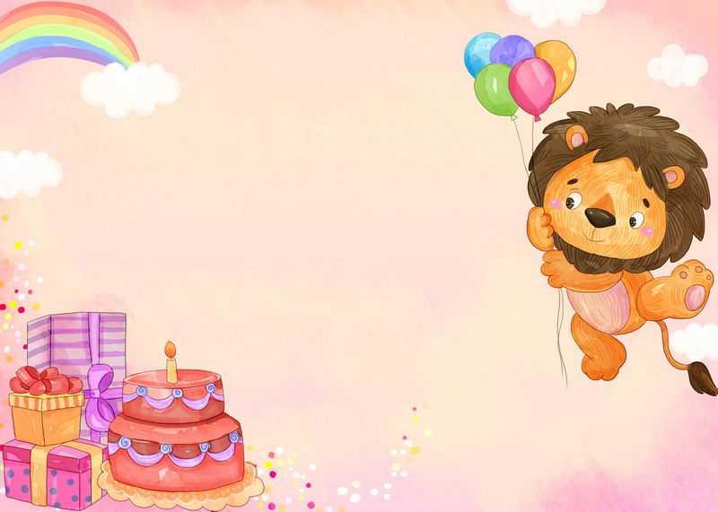 卡通小狮子儿童生日背景图3456955图片素材
