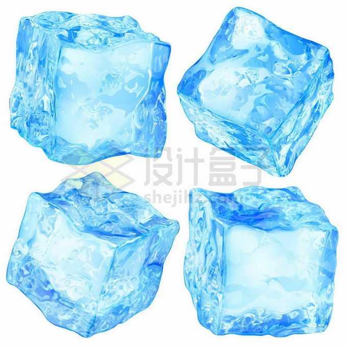 4款逼真的蓝色冰块碎冰方块6890370矢量图片免抠素材