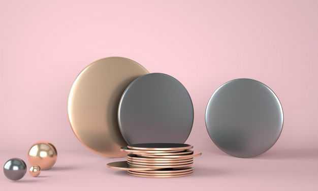 3D立体金属光泽圆饼和圆球8588568免抠图片素材