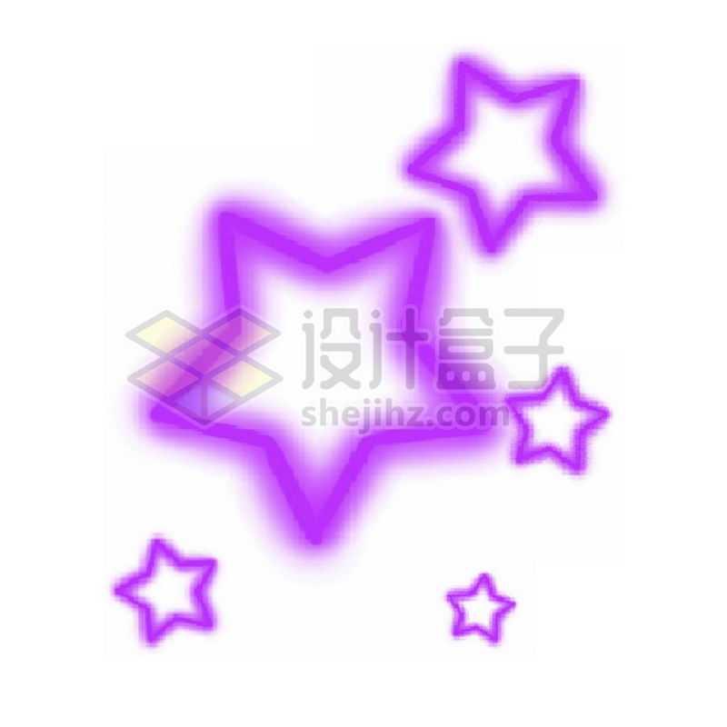 霓虹灯风格发光线条紫色空心五角星1434776免抠图片素材