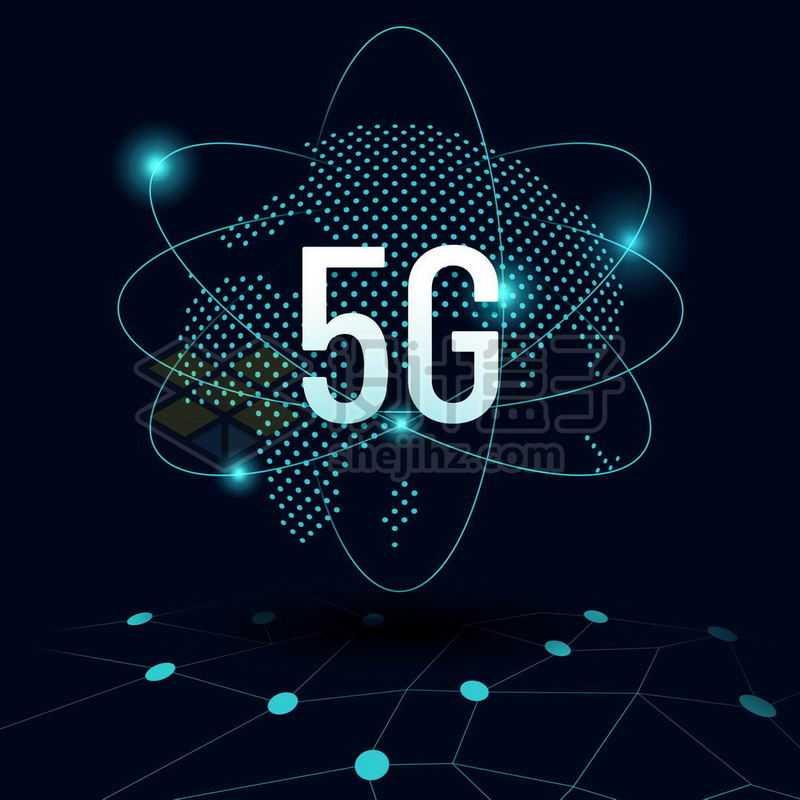 蓝色发光效果光点地球背景和高科技风格5G通信技术1027450免抠图片素材