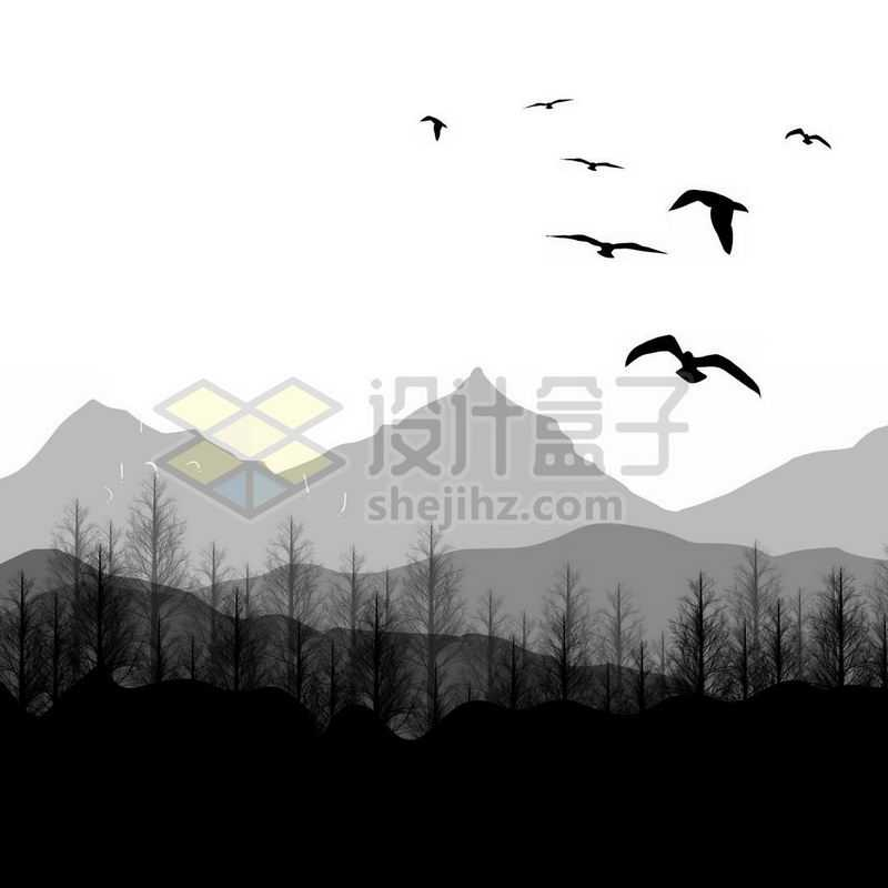 淡淡的远山和近处的森林以及天空中的飞鸟剪影5532034免抠图片素材