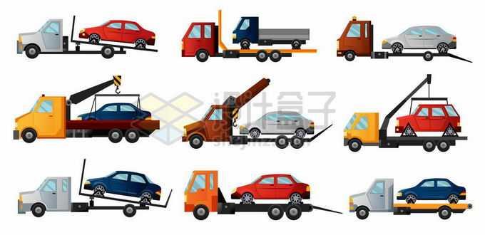 9款驮着汽车的交通事故拖车清障车2350496矢量图片免抠素材