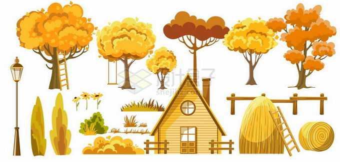 深秋时节里黄色的大树草丛和房子木屋金秋风景5791528矢量图片免抠素材