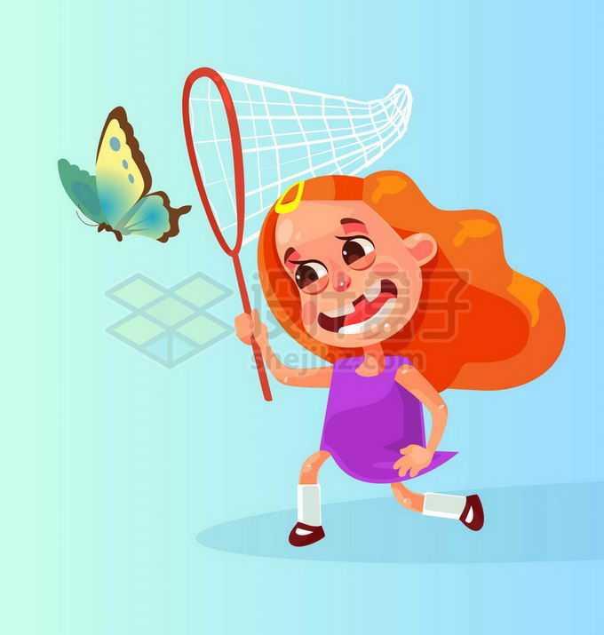 卡通小女孩拿着捕虫网在捕捉蝴蝶2326308矢量图片免抠素材