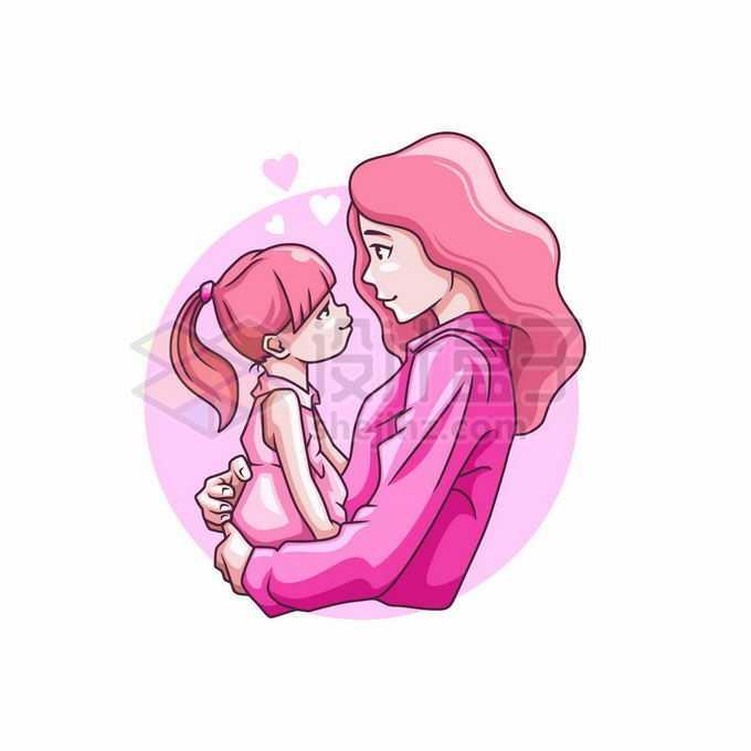 妈妈抱着女儿深情对视母亲节手绘插画4169107矢量图片免抠素材