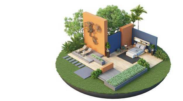 3D立体风格悬空岛豪华别墅卧室和庭院装修效果图2487436免抠图片素材