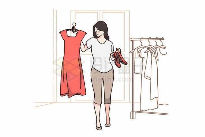 女孩正在选择要穿的衣服手绘线条插画1985925矢量图片免抠素材