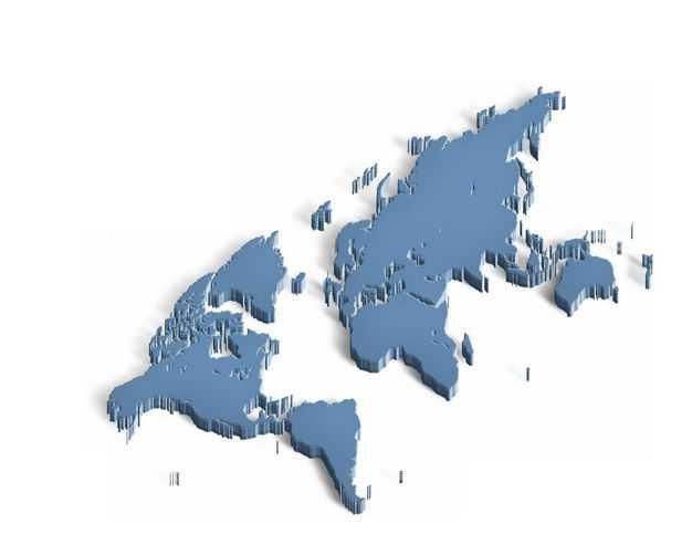 3D立体风格蓝色阴影世界地图8849188免抠图片素材