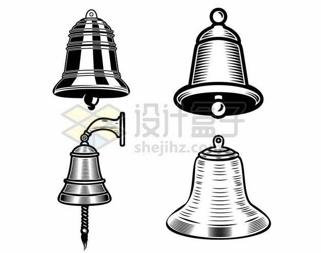 4款黑色漫画风格的小铃铛和寺庙中的大钟3710002矢量图片免抠素材
