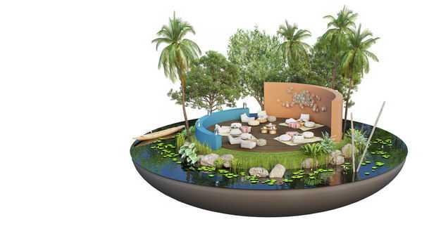 3D立体风格悬空岛小岛豪华别墅内部装修效果图8319642免抠图片素材
