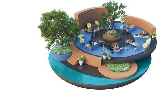 3D立体风格悬空岛豪华酒店内部解雇装修效果图3328011免抠图片素材