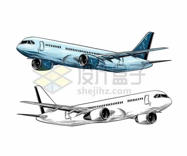 手绘风格蓝色和白色大型客机飞机4607577矢量图片免抠素材