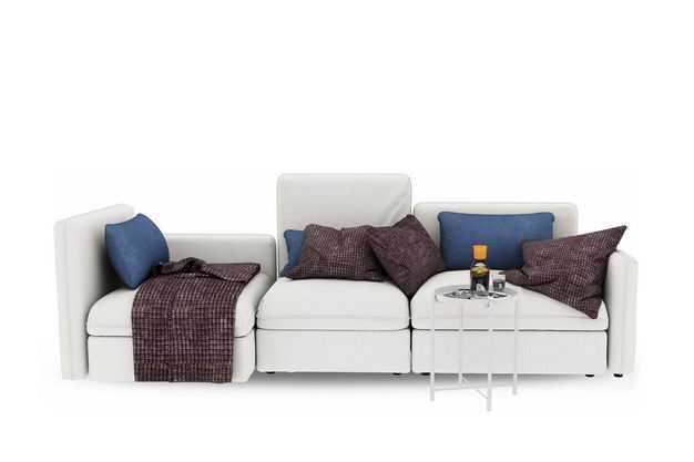 淡灰色的组合沙发和小小的茶几客厅装修家具9499472免抠图片素材