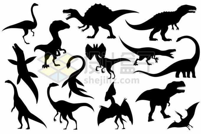 各种各样的古生物恐龙剪影8268122矢量图片免抠素材