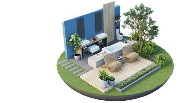 3D立体风格悬空岛豪华别墅庭院装修效果图2257706免抠图片素材
