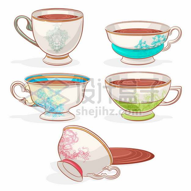 5个精美花纹的喝茶杯子英式下午茶茶具7548190矢量图片免抠素材