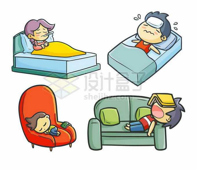 4款发热感冒测量体温冰敷身体难受躺在床上的卡通人物3935744矢量图片免抠素材